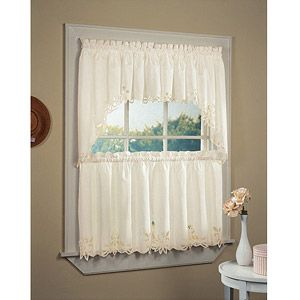 Chf You Batternburg Rod Pocket Kitchen Swag Curtains Set Of 2 Or Valance Walmart Com Small Window