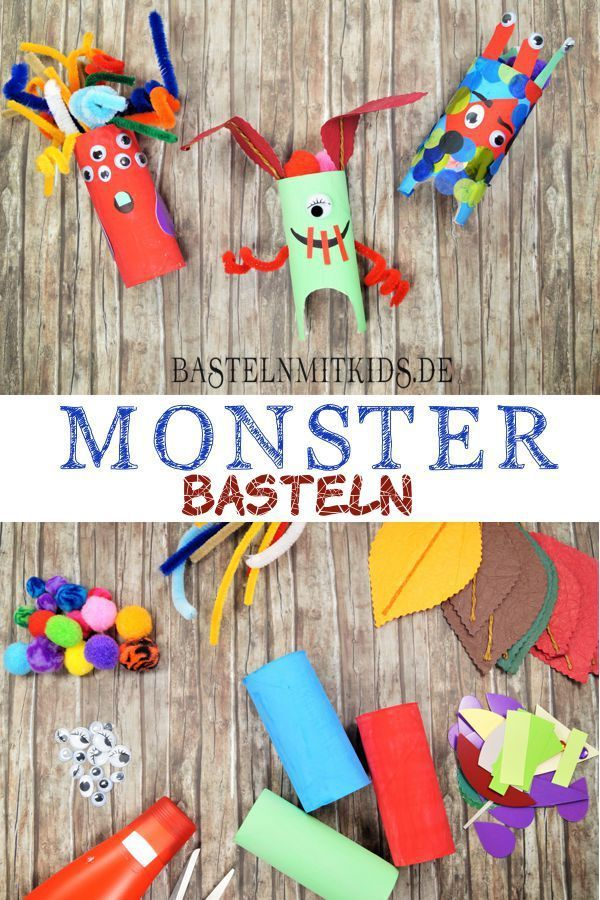 Monster basteln mit Kindern - Bastelnmitkids