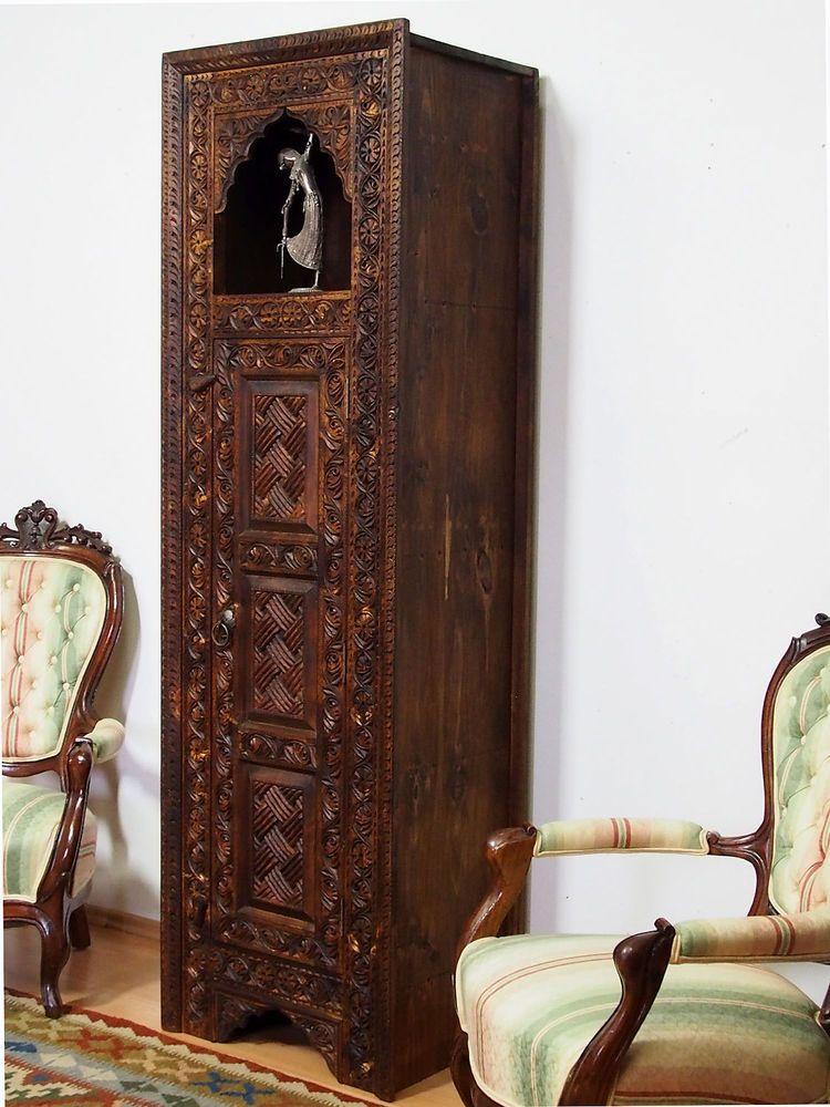 Antik Look Massiv Orient Landhaus Hochschrank Schrank Schrankwand