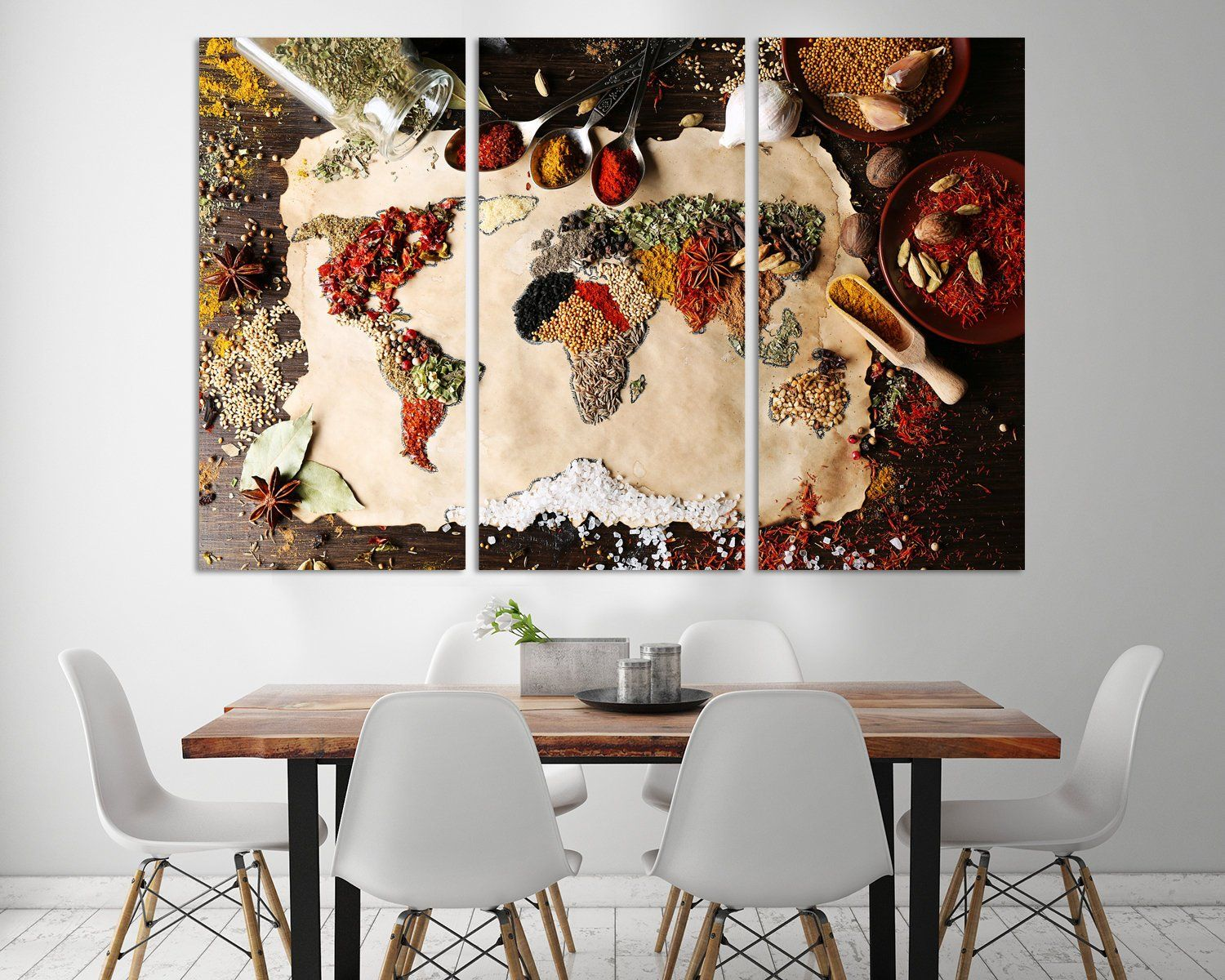 Spice Rack World Map Canvas Kitchen Wall Decor Extra Large Canvas