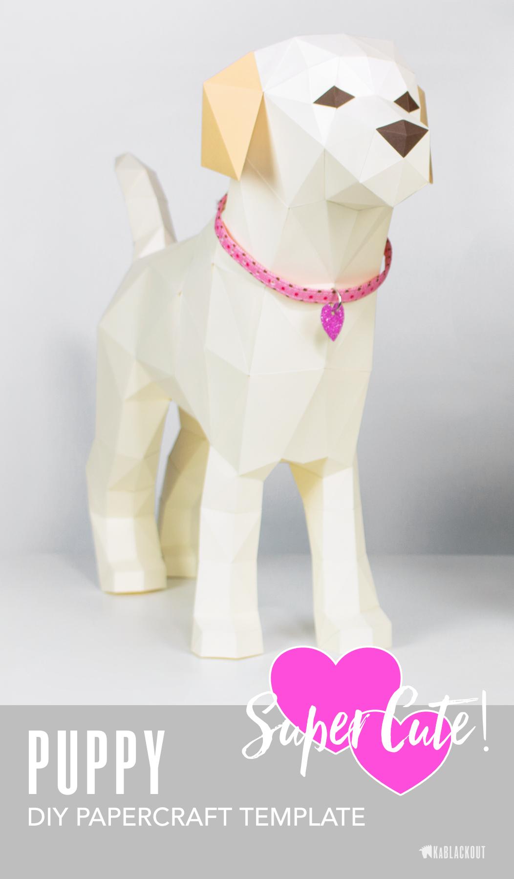 Puppy Papercraft Template Create An Adorable Free Standing Sculpture Of A Sweet Little