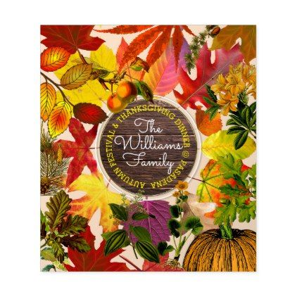 #Fall Autumn Leaves Collage Monogram Vintage Wood Wine Label - #cyo #create #your #own #gifts