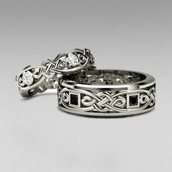 925 Sterling Silver Cletic Couple Rings For His And Her Pretty