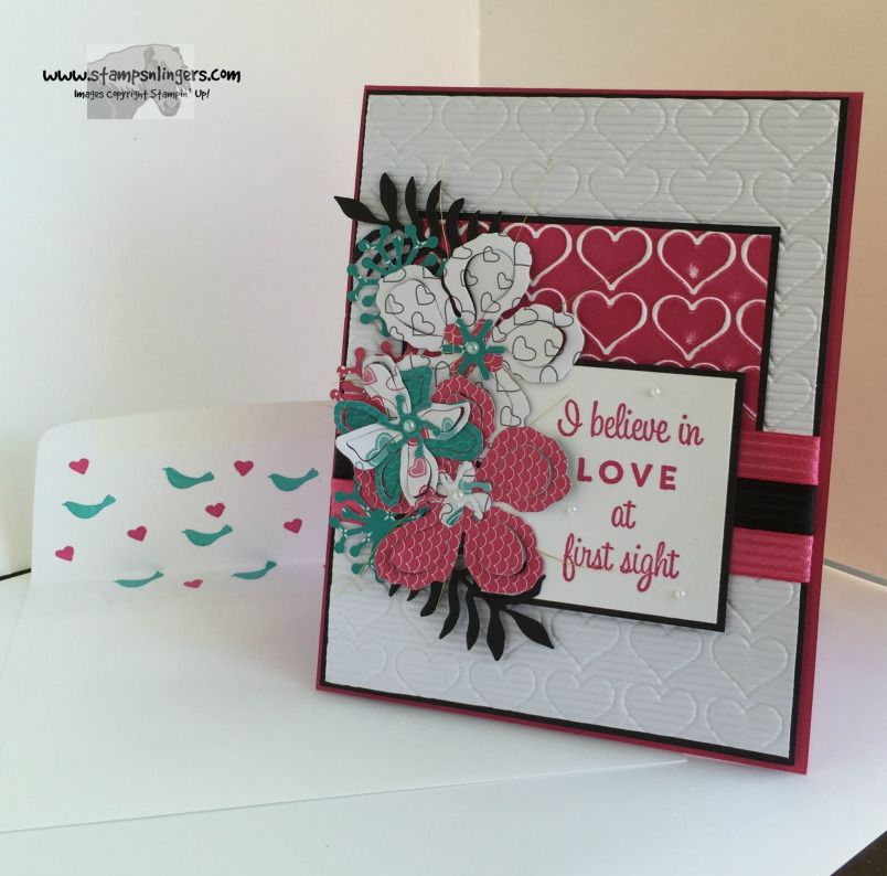 Stamps-N-Lingers. First Sight stamp set, Stampin' Up! Botanical Builder Framelits - Have a Cuppa DSP flowers. http://stampsnlingers.com/2016/02/10/stampin-up-love-at-first-sight/