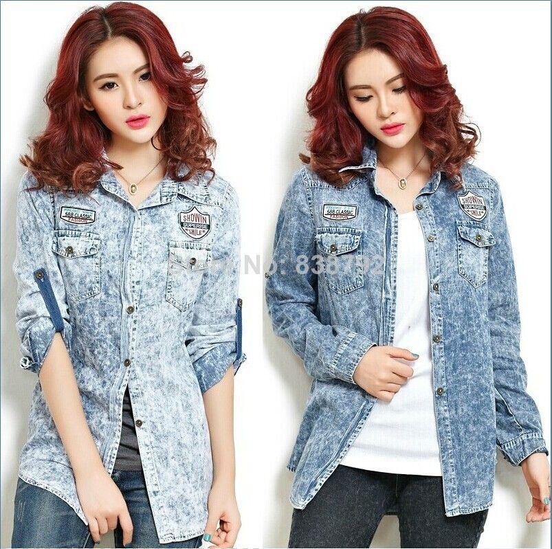 HOT! 2014 Summer New Fashion Korean Style Ladies Denim Blouse Cowboy Jean Shirt Slim Fit Blue Turn-down Collar Denim Shirt Women