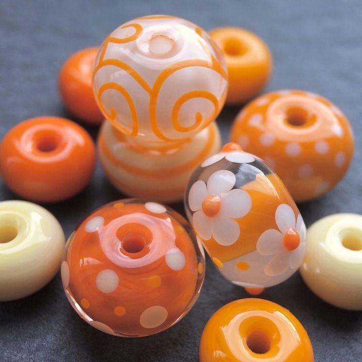 Handmade Bead LAMPWORK Glass Round 16MM 5PCS Focal Spacer Amber Jewellery Making