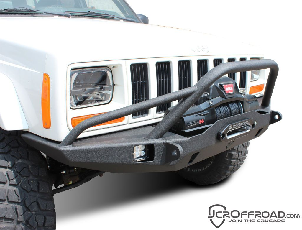 Hanson Offroad Prerunner Front Bumper In Black For 84 01 Jeep
