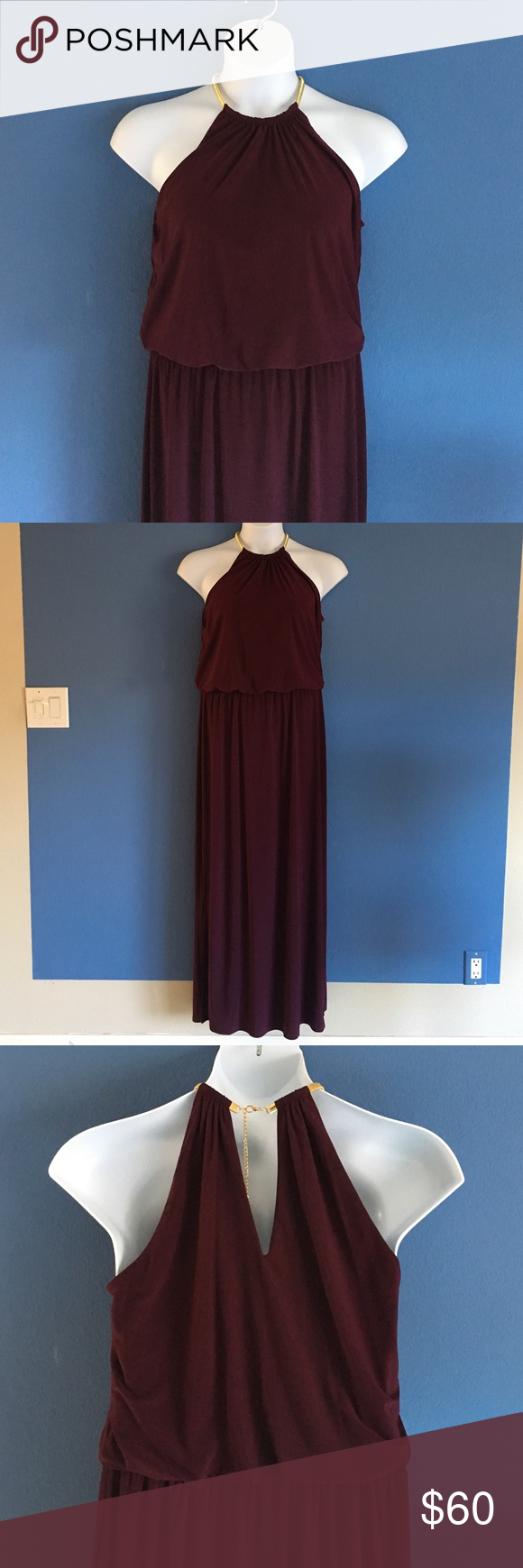 """🆕 MSK Purple Halter Dress You just found the perfect dress for your holiday party!  This dress has a flattering silhouette.  The halter top features a gold metal neck accent.   The elastic waist stretches for the perfect fit. The bottom has 15"""" slit on both sides from the bottom.  Simply gorgeous!  You will make a statement in this dress.  Material:  96% Polyester/4% Spandex. Measurements:  Length - 58""""/Bust - 20""""/Waist - 16"""" (has stretch) MSK Dresses Maxi"""
