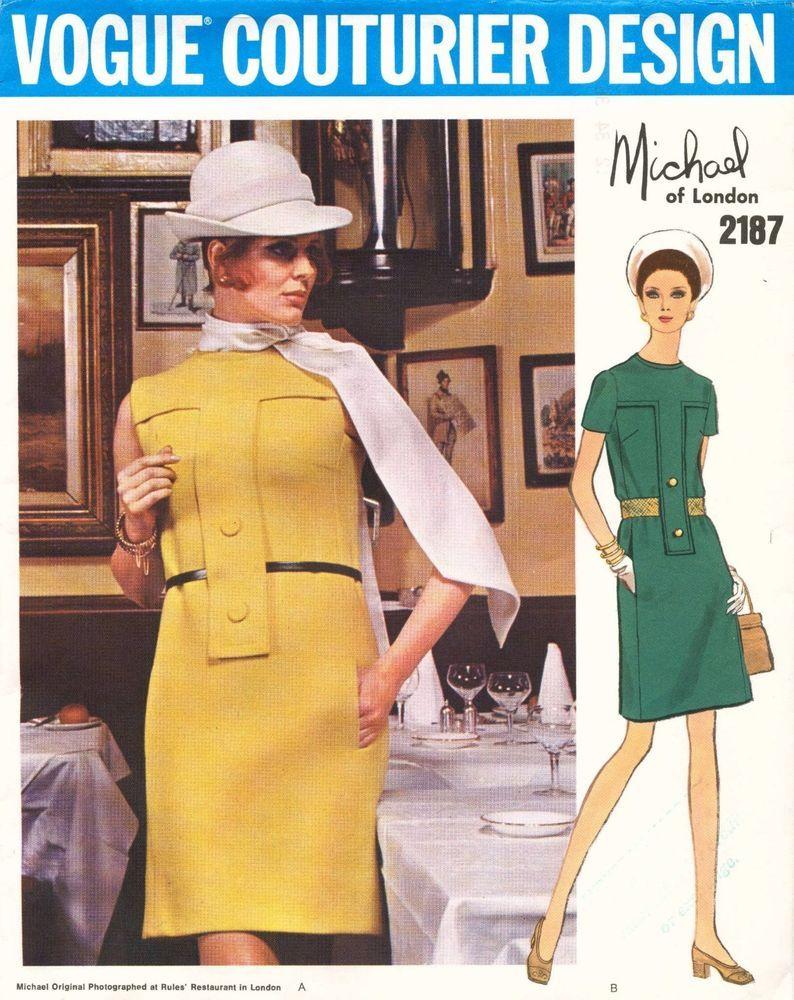 1960's VTG VOGUE COUTURIER DESIGN Dress Michael of London Pattern 2187 12