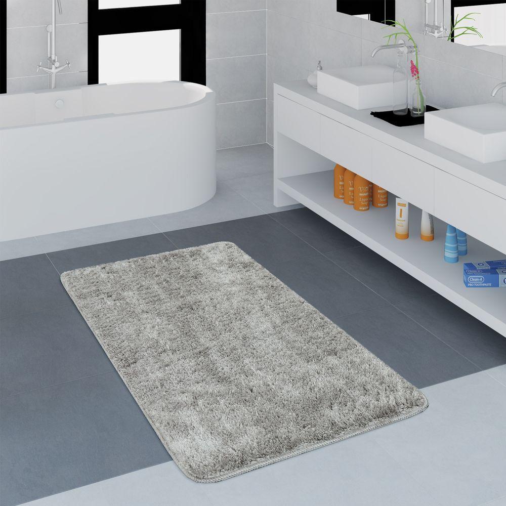 Microfaser Badezimmer Teppich Einfarbig Grau Badteppich