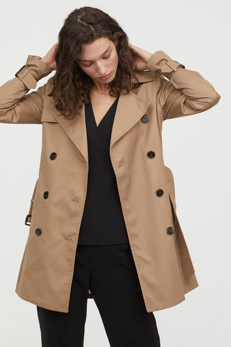Short Trenchcoat Beige Ladies H M Us 1 Spring Outfits Casual Trench Coat Fashion [ 1152 x 768 Pixel ]