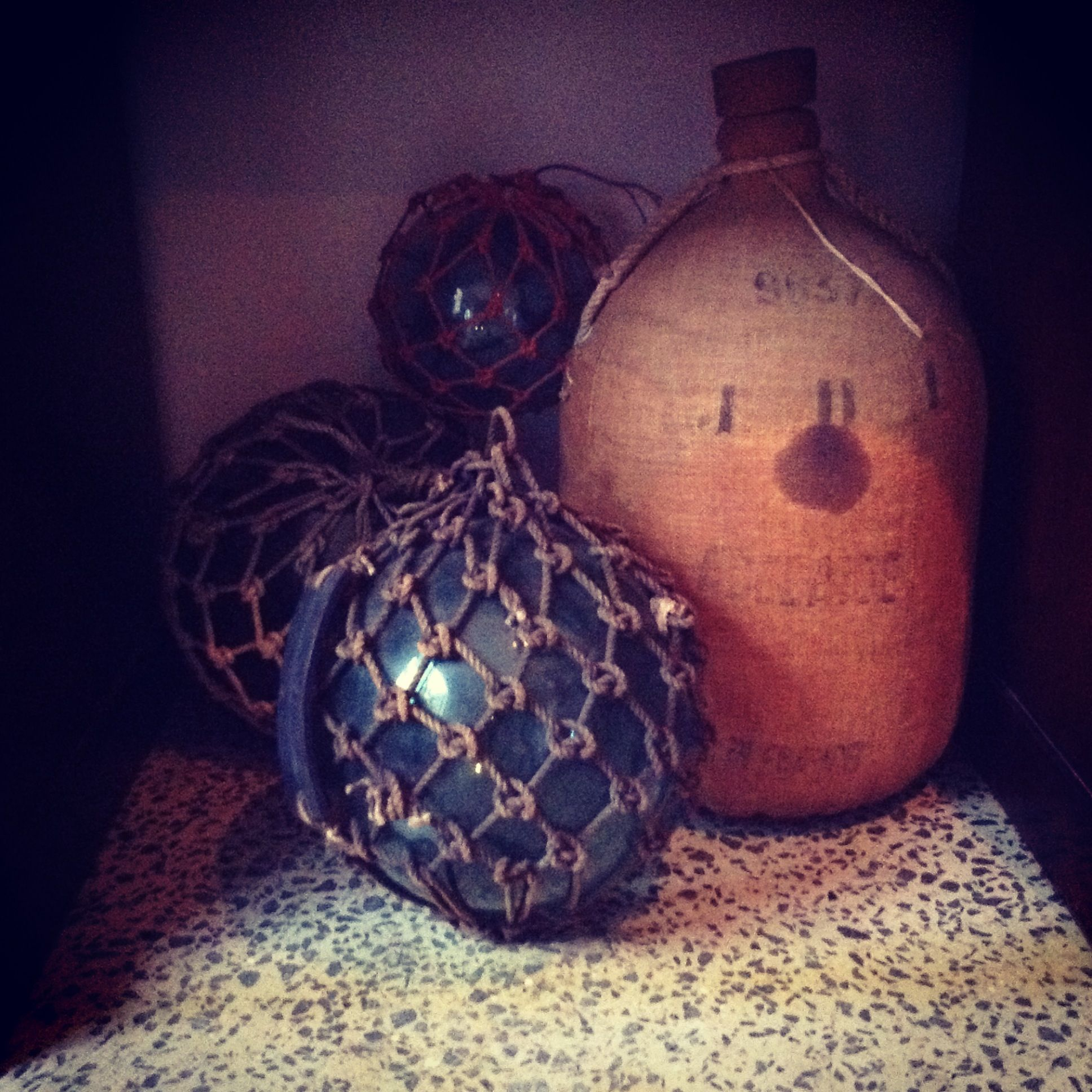 Glass Floating Buoys From 1900s With French Wine Cask By