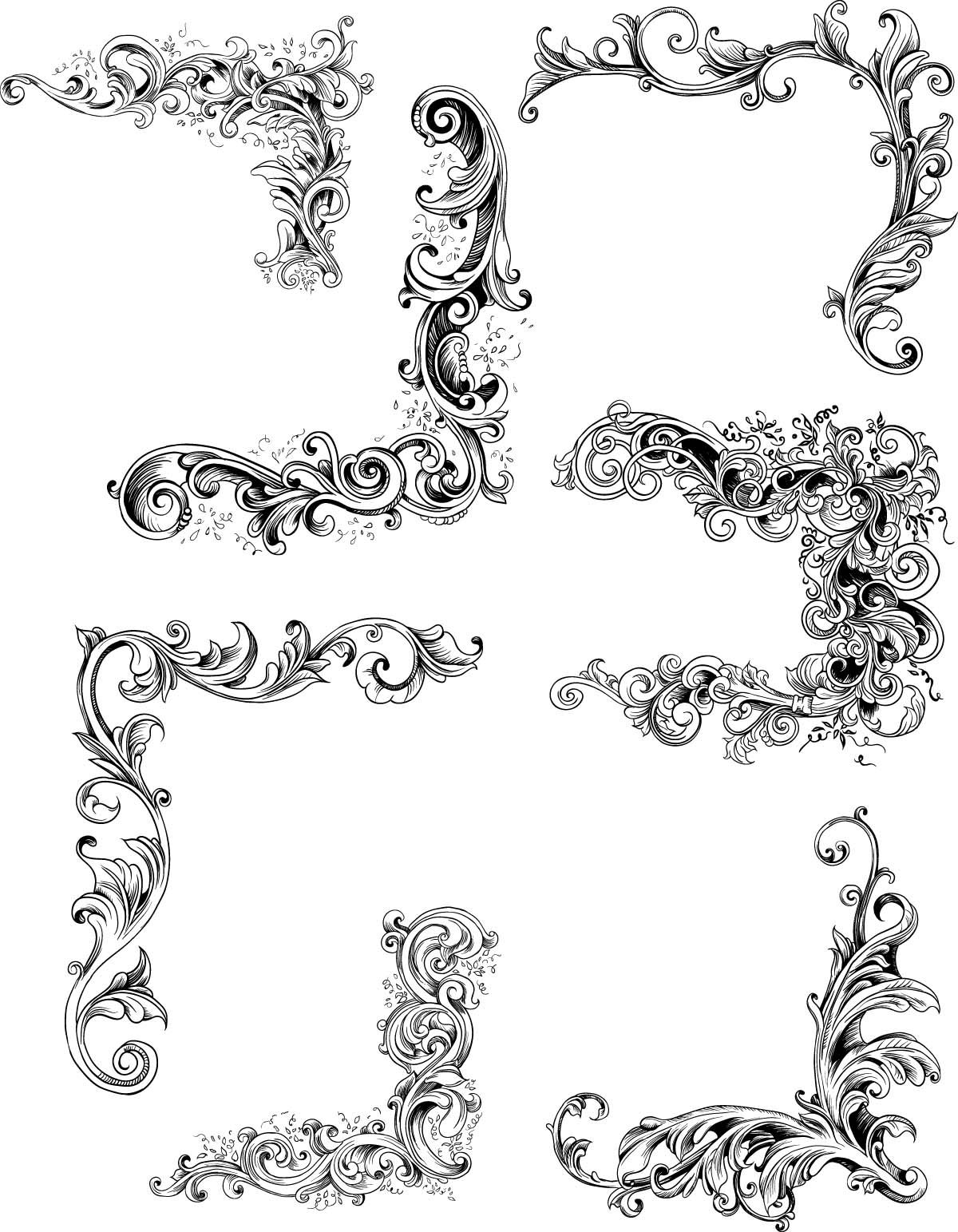 Decorative Floral Borders Set Vector