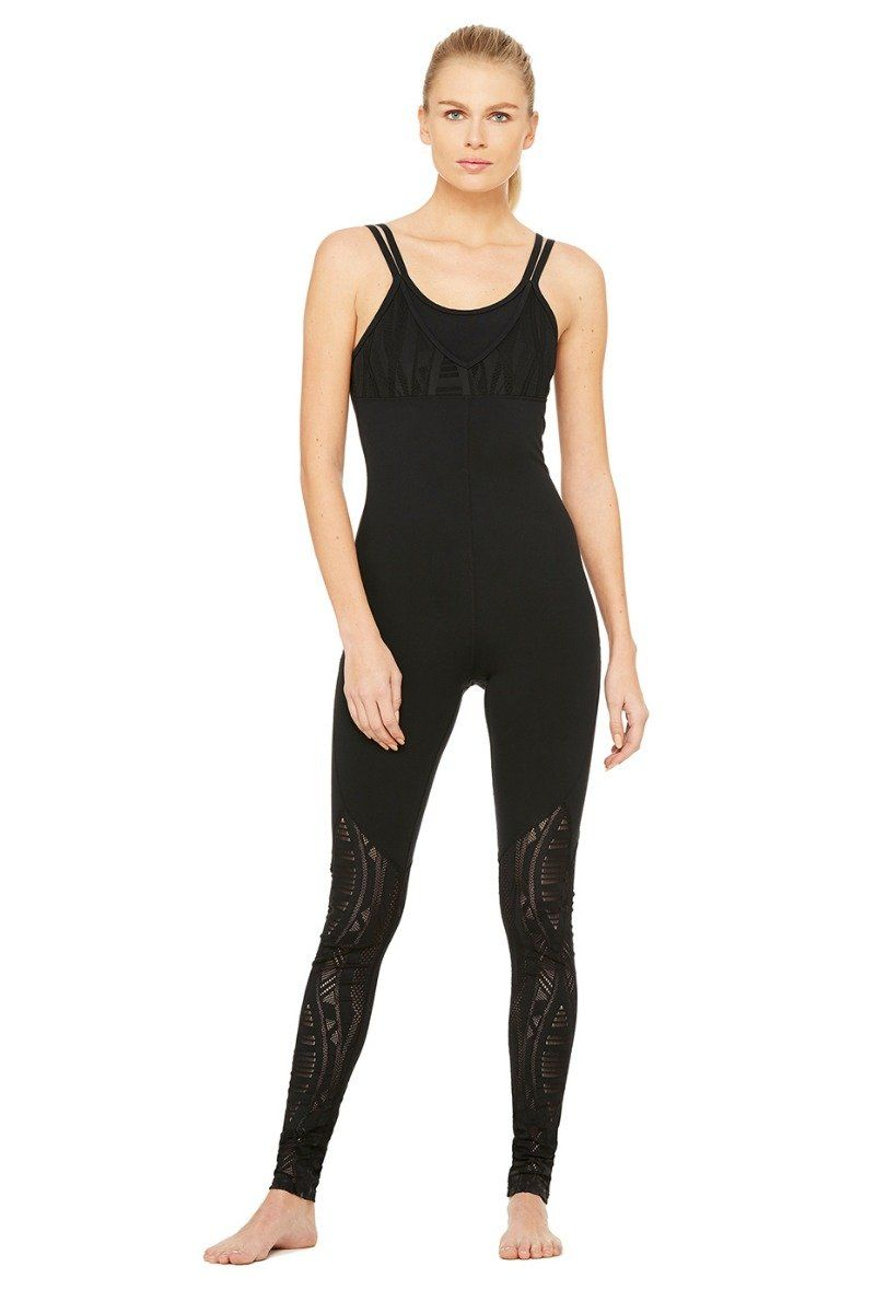 932a187cb6 The Alo Yoga Siren Unitard is a lingerie-inspired piece that accents  performance lace and breathability.