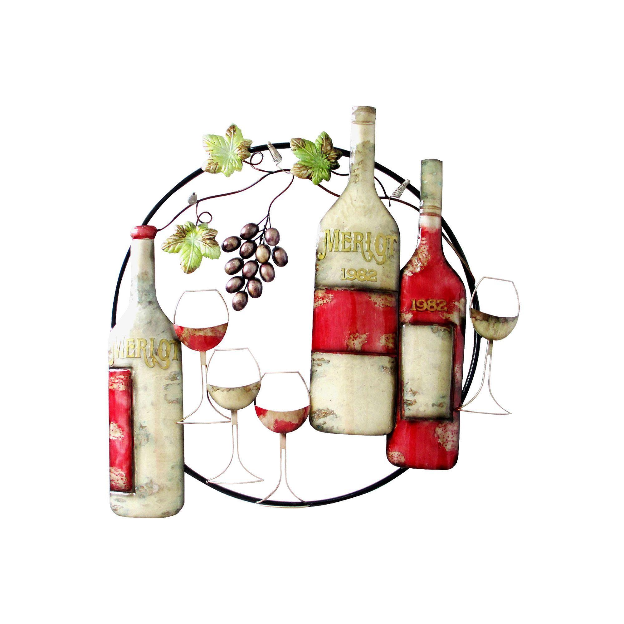 merlot wine metal wall decor multicolor