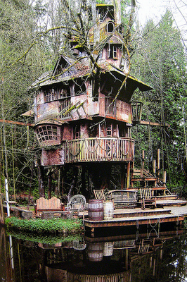 Whimsical Swiss Famly Robinsonesque Tree house
