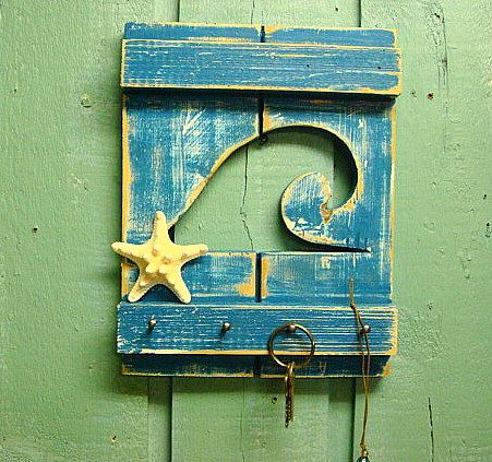 Key Jewelry Rack Shutter Waves in Weathered Wood by CastawaysHall, $24.00