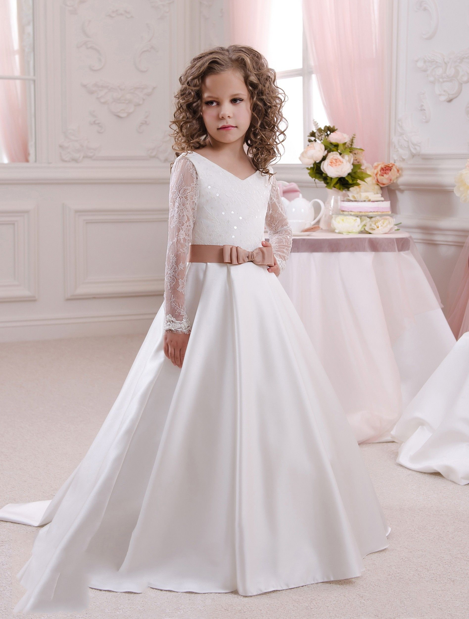 Long Sleeve V Neck Floor Length White Satin A Line Flower Girl Dress ...