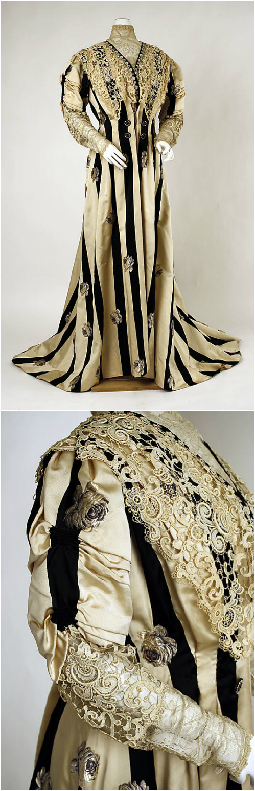 Tea gown, c. 1900, at the Met. See: http://www.metmuseum.org/Collections/search-the-collections/106449?rpp=20&pg=9&rndkey=20140123&ao=on&ft=*&what=Costume%7cGowns&pos=176