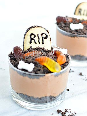 Halloween Graveyard Mousse Cups