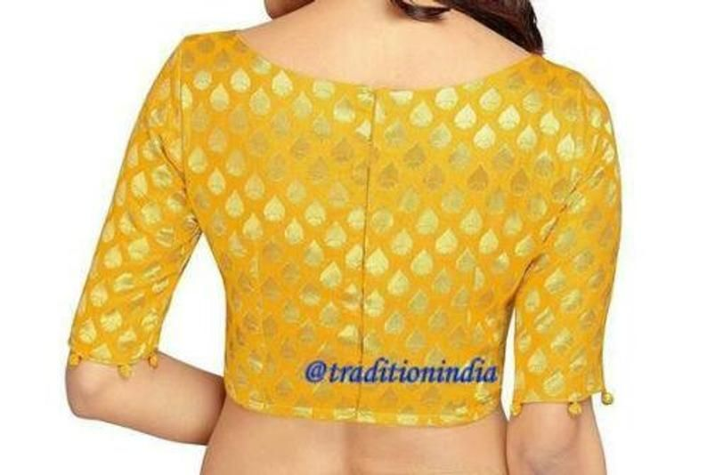Yellow Blouse Short Sleeve blouse Bollywood Blouse Yellow Banarasi Chanderi Silk Sari Blouse Designer Blouse Ready made Saree Blouse