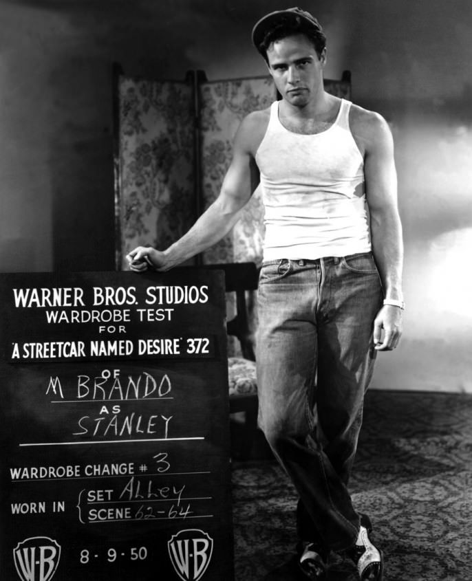 marlon brando in test shot for a streetcar d desire wearing a  marlon brando in test shot for a streetcar d desire wearing a sleeveless wife beater undershirt