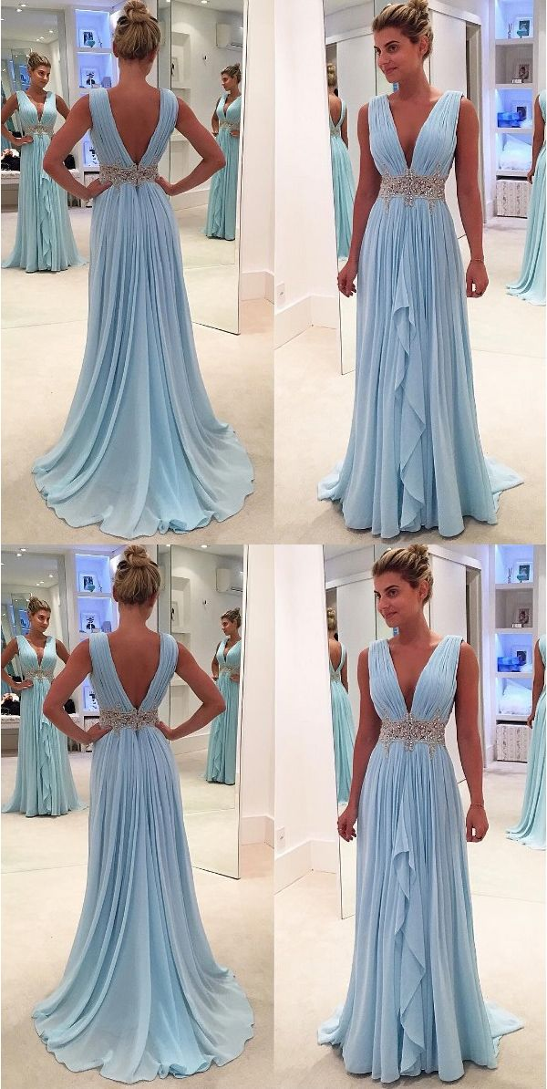 4ca574238b90 New arrival Light Blue Chiffon Prom Dresses Deep V Neck Off the Shoulder  Evening Gowns,High Low Long Prom Dress With Beaded Waist,Women Party Gowns
