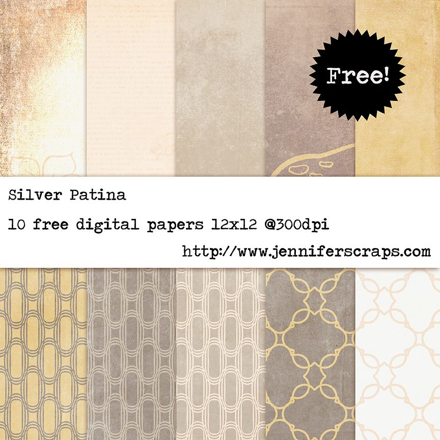 Silver Patina Free Digital Paper Pack Backing Papers Pinterest