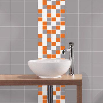 Mosaïque Astuce, gris blanc et orange, 4.8x4.8 cm | Salle de ...