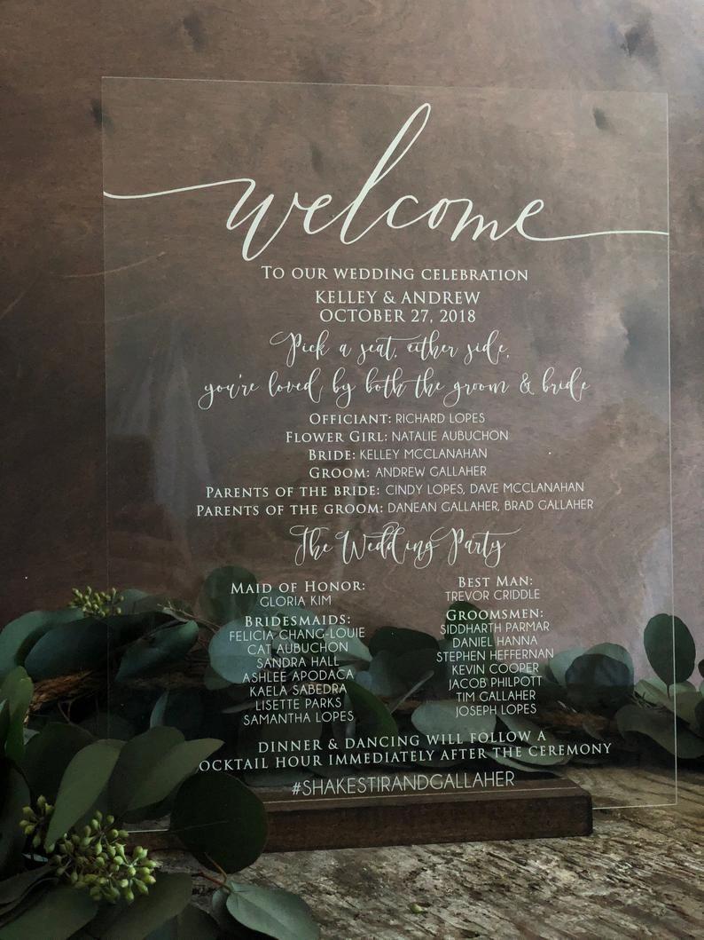 Acrylic Wedding Party Sign Acrylic Wedding Program Sign
