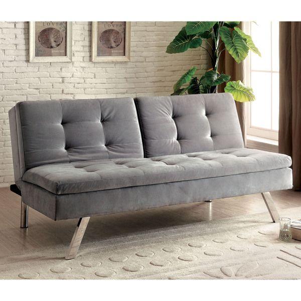 furniture of america baudre modern grey convertible futon sofa by