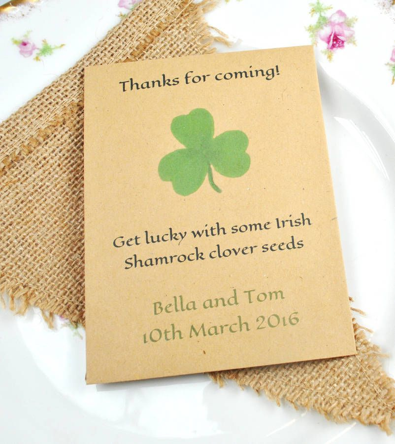 Lucky Shamrock Seed Packet Wedding Favour