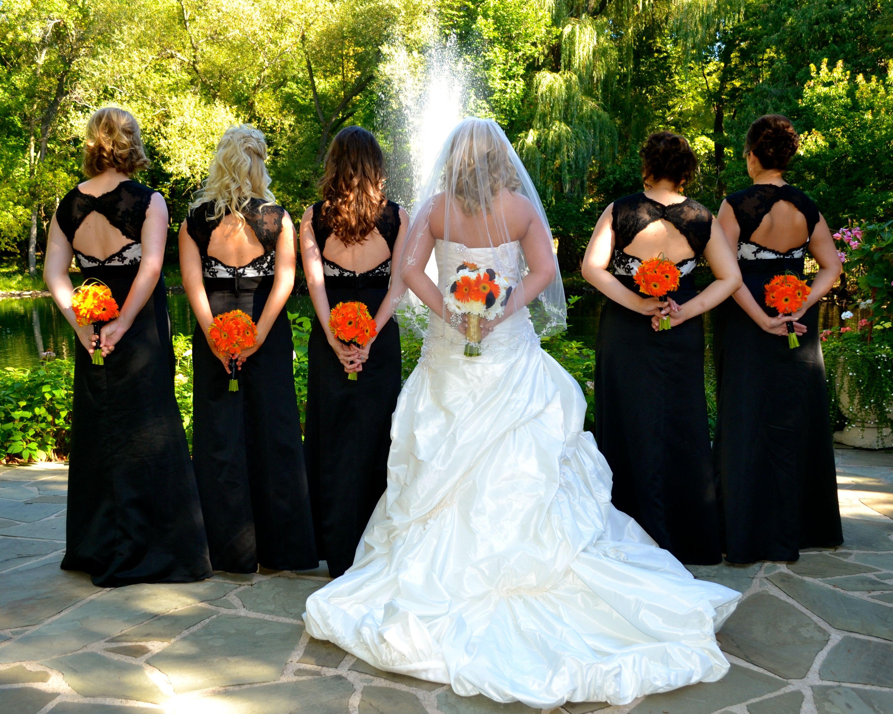 Fall wedding, black and orange wedding, all orange gerber daisy ...