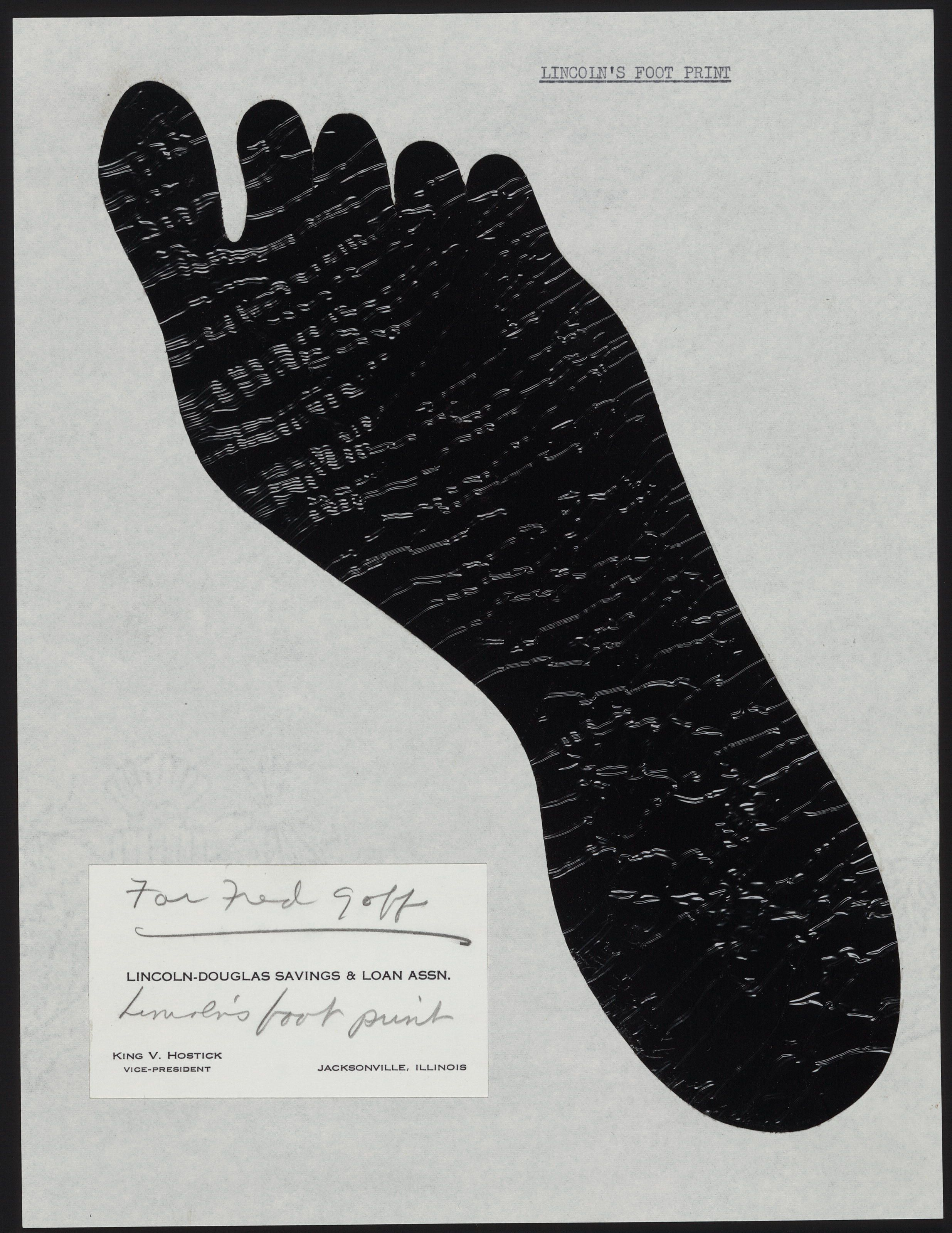 Silhouette of Lincoln\'s footprint and business card of King V ...