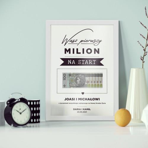 Wasz Pierwszy Milion Na Start Prezent Dla Pary Mlodej Z Imionami Wedding Present Ideas Wedding Gifts For Couples Couple Gifts