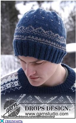 Мужская шапка спицами узором жаккард