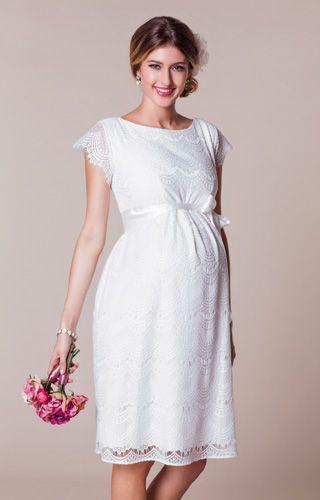 Harriet Maternity Dress Short Bright Ivory Maternity Wedding