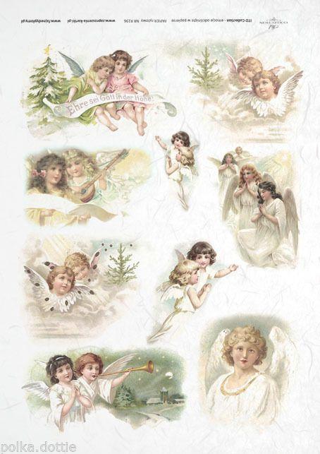 Rice Paper Decoupage Scrapbook Cute Vintage Angels Christmas