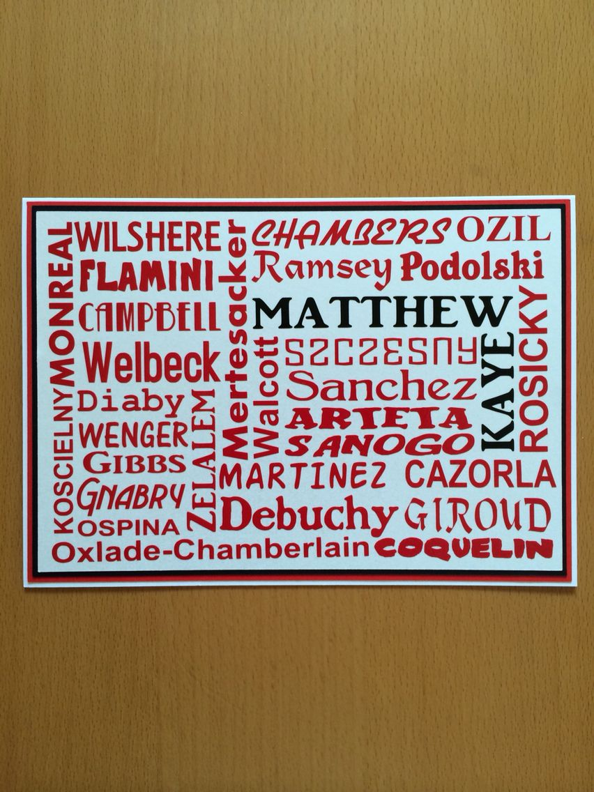 This Card Was Made For My Godson Who Is An Arsenal Fan It Includes