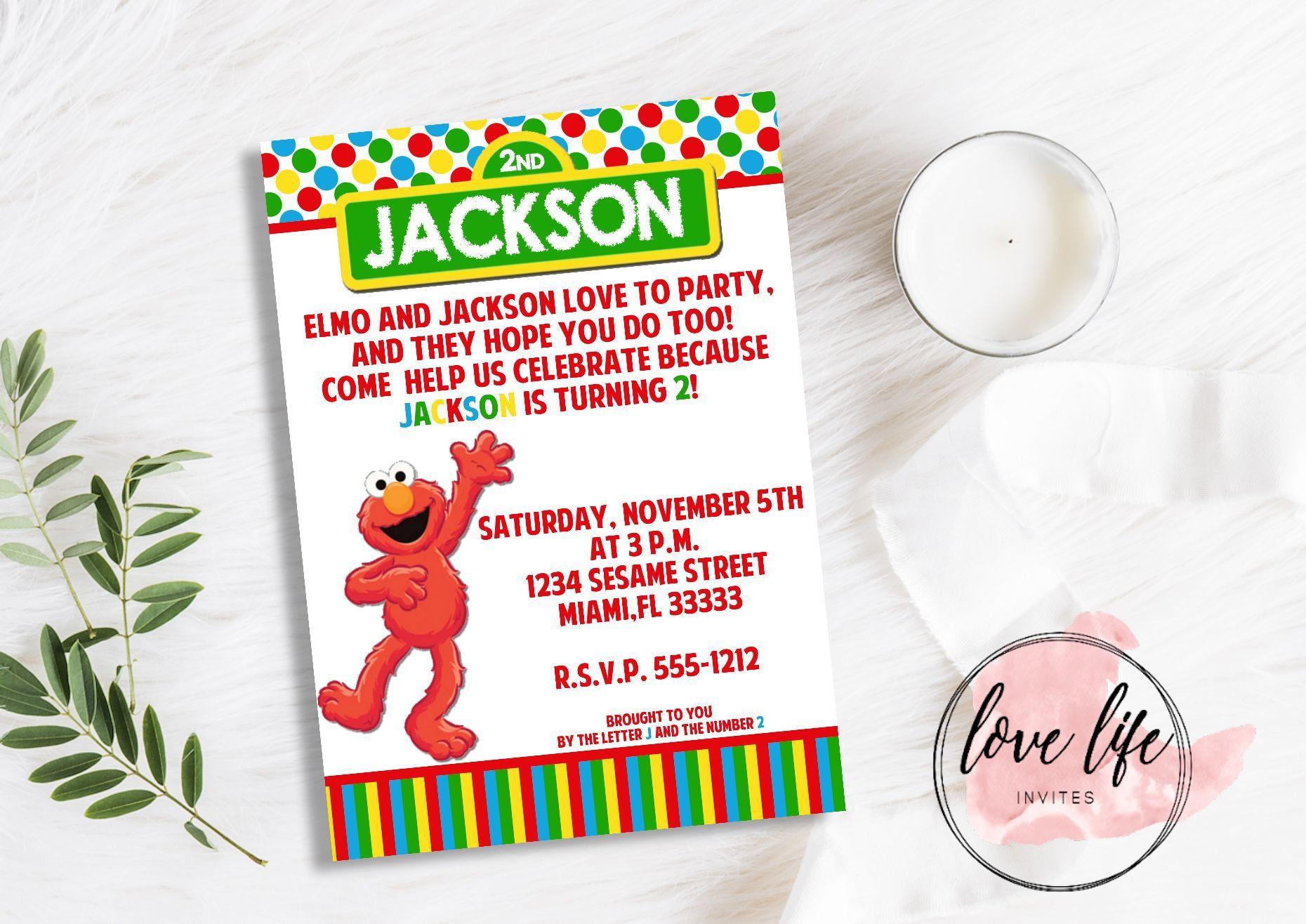 Elmo Birthday Invitation | Elmo Invitation | Sesame Street ...
