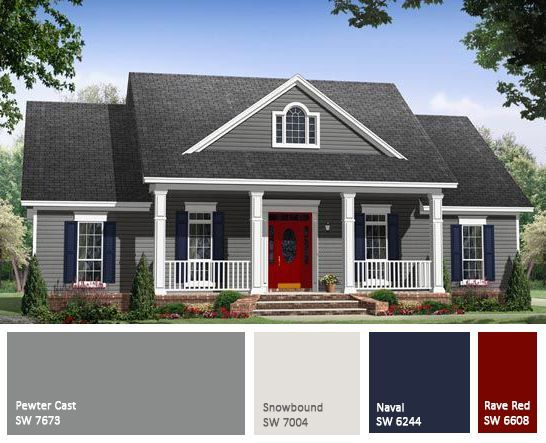 We Are Looking For The Perfect Combo Of Gray White Trim And Barn Red Accents Loving Gray House Exterior House Paint Exterior Exterior Paint Colors For House