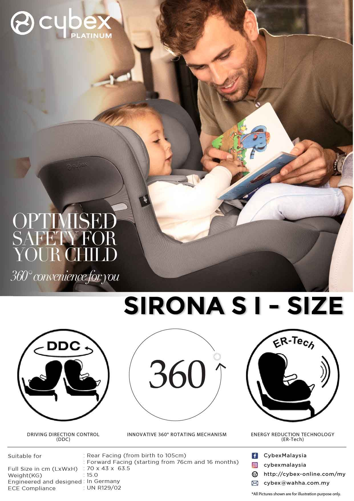 Cybex Sirona S I Size 360 Rotation With Easy Entry Position Rearward Facing Up To 105 Cm Approx 4 Years Driving Dire Cybex Energy Reduction Technology