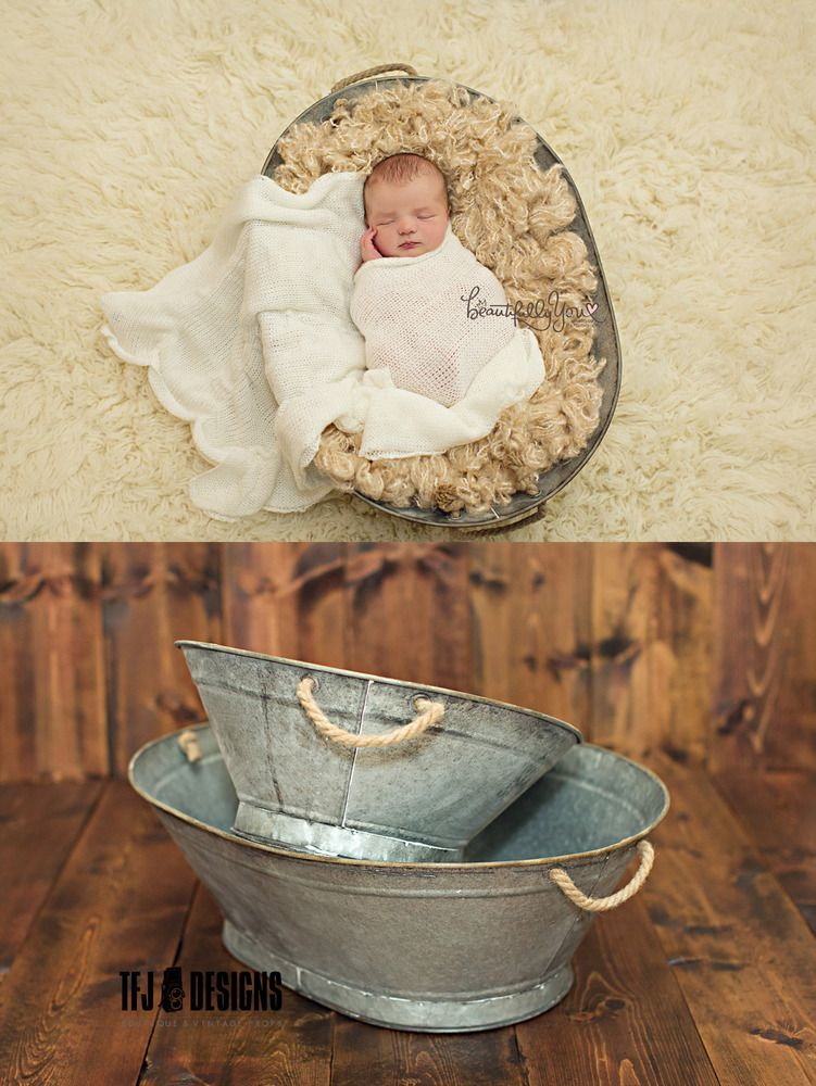 Tin Oval Tubs w/Rope Handles - TWO Sizes - Newborn Toddler - Vintage ...