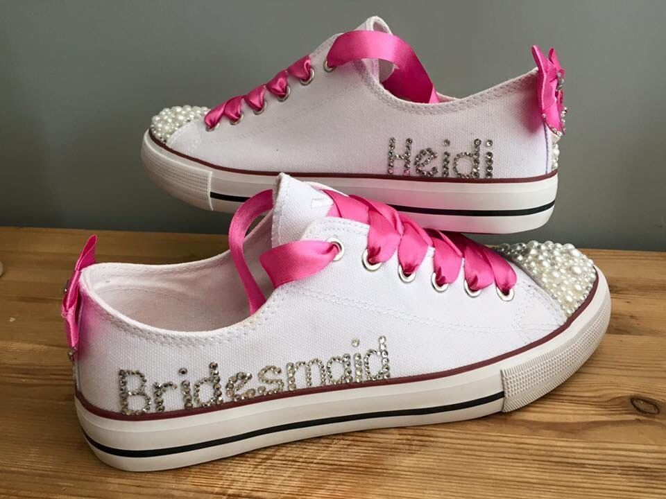 Personalised Wedding Prom White  Pearl  All White Converse Style Pumps Size 2-8