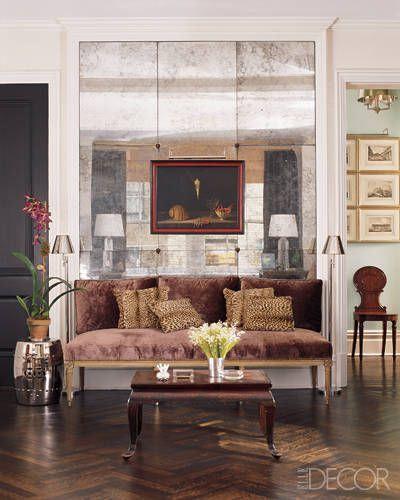 Todd Alexander Romano Antiqued Mercury Panel Mirrors Interior Interior Design Elle Decor