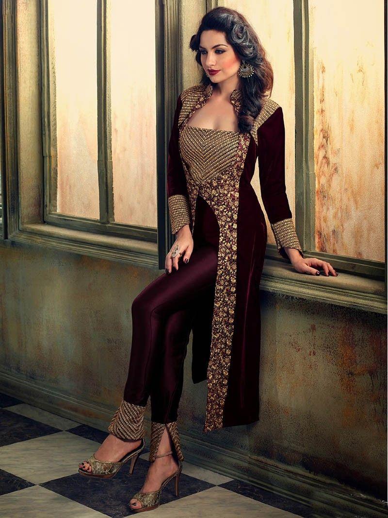 Wine Color Velvet Embroidered Straight Salwar Kameez
