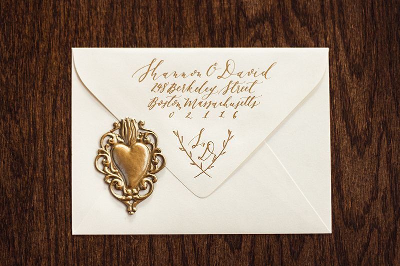 Handwritten Calligraphy On Wedding Invitation With Gold Wax Seal At Willowdale Estate In Topsfield Massachusetts