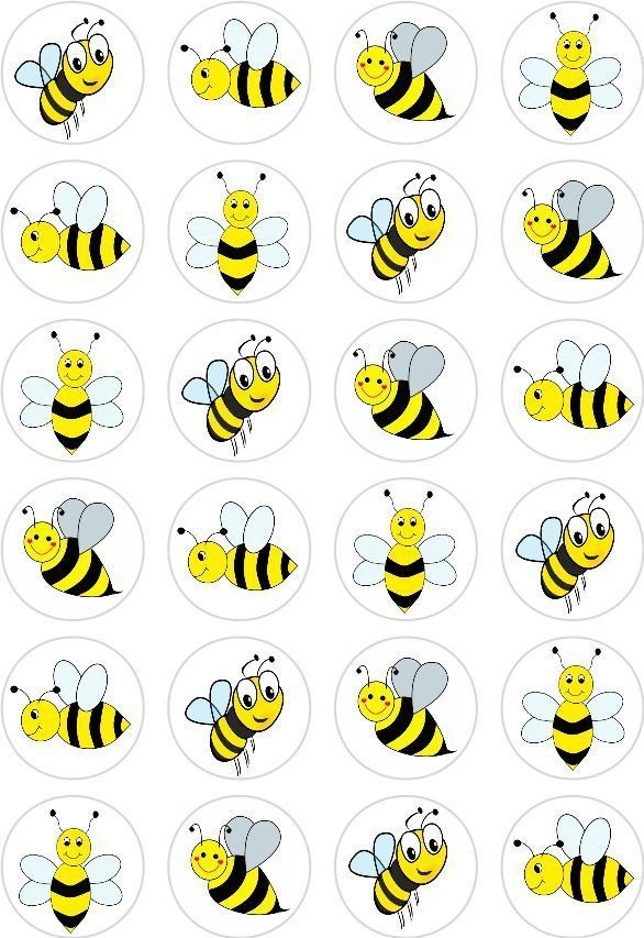 24 Bumble Bee Cupcake Fairy Cake Toppers Edible Rice Wafer