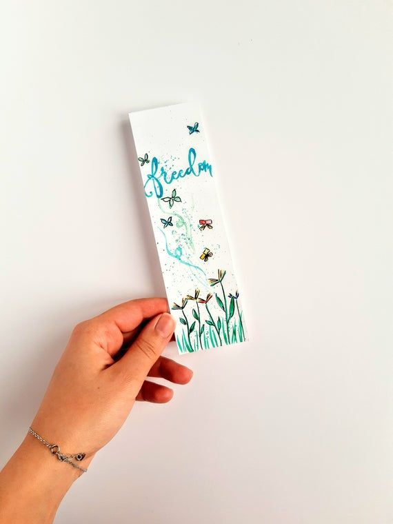 Hand Painted Watercolor Original Bookmark With Books And