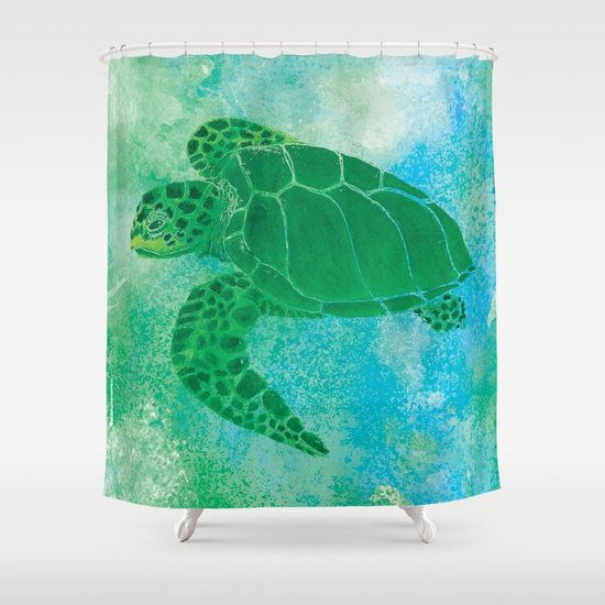 Sea Turtle Shower Curtain Kemp S Ridley Watercolor Watercolor